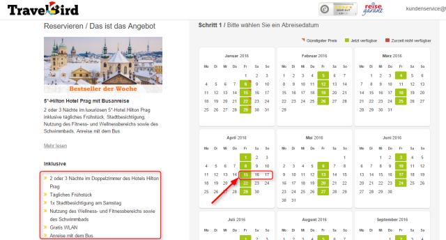 Datumsuebersicht TravelBird Prag Hilton