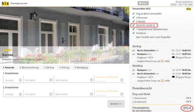 Buchungsuebersicht Baross Budapest HLX