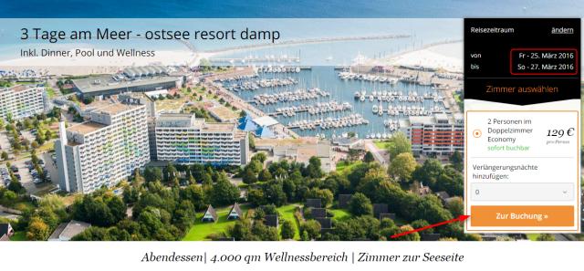 Buchungsuebersicht Ostsee Resort Damp travador