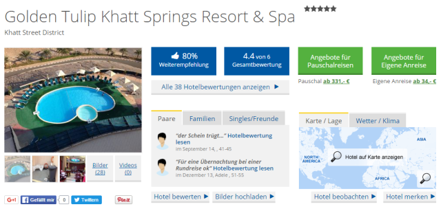 Golden Tulip Khatt Springs Resort & Spa Holidaycheck
