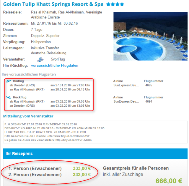 Preisuebersicht Golden Tulip Khatt Springs Resort & Spa