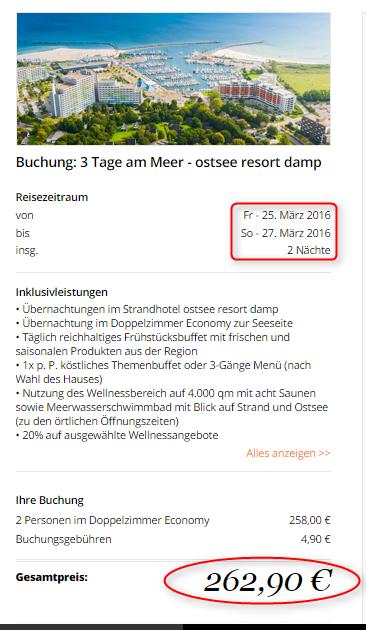 Preisuebersicht Ostsee Resort Damp travador