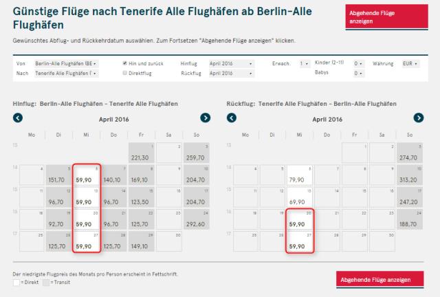 Kalenderuebersicht Berlin Teneriffa norwegian