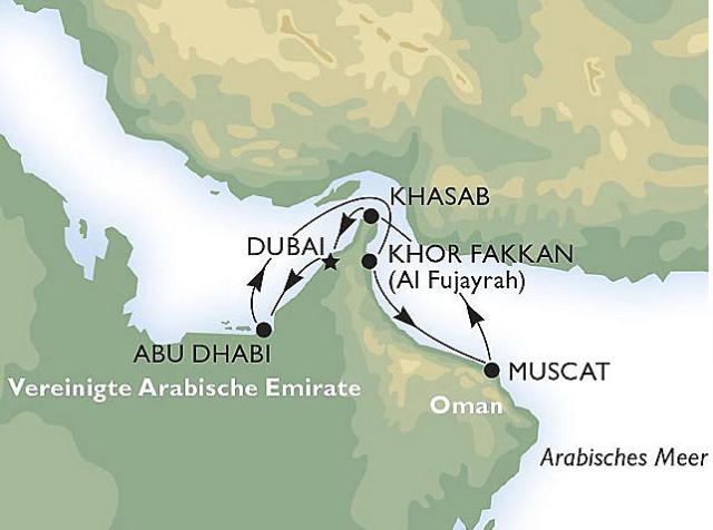 Route ab Dubai MSC Musica