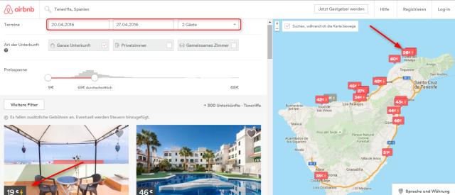 Uebersicht Airbnb Teneriffa