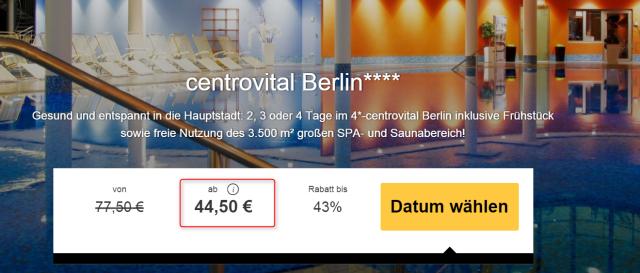 2 Tage Wellness Im 4 Centrovital Hotel Berlin Inkl Extras Für 34