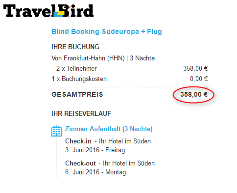 Buchungsuebersicht Blind Booking TravelBird