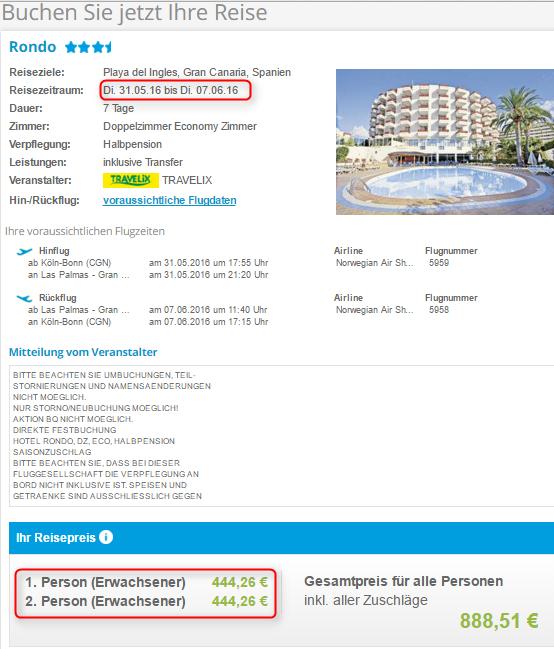 Buchungsuebersicht Rondo Gran Canaria 5VF