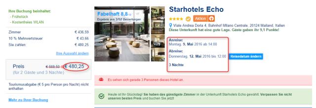 Buchungsuebersicht Starhotels ECO bookingCom