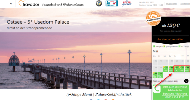 Angebotsuebersicht Usedom Palace Travador