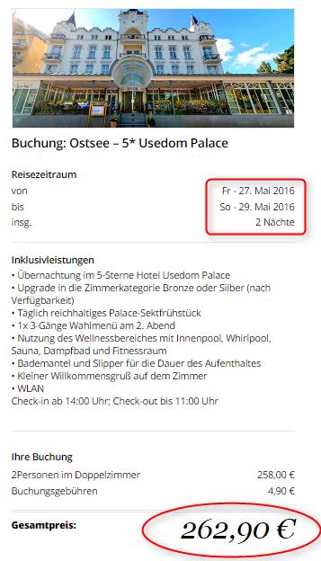 Buchungsuebersicht Usedom Palace Travador