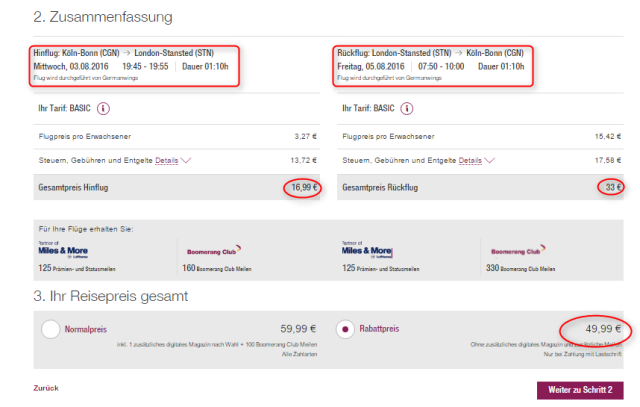 Buchungsuesbersicht Koeln London Eurowings