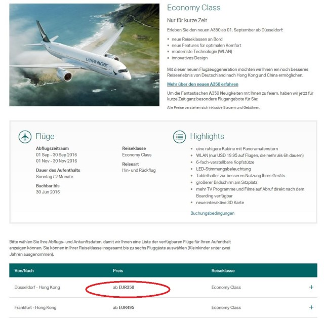 Cathay Pacific Flugangebot