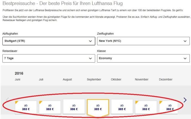 Fluege nach New York Lufthansa Stuttgart