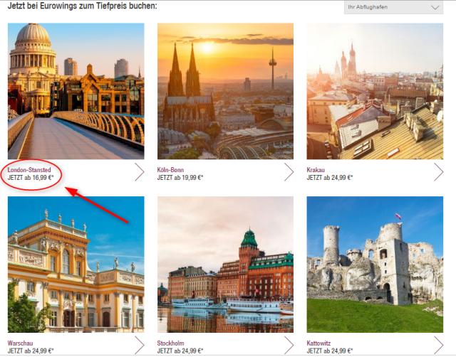 Uebersicht Reiseziele Eurowings
