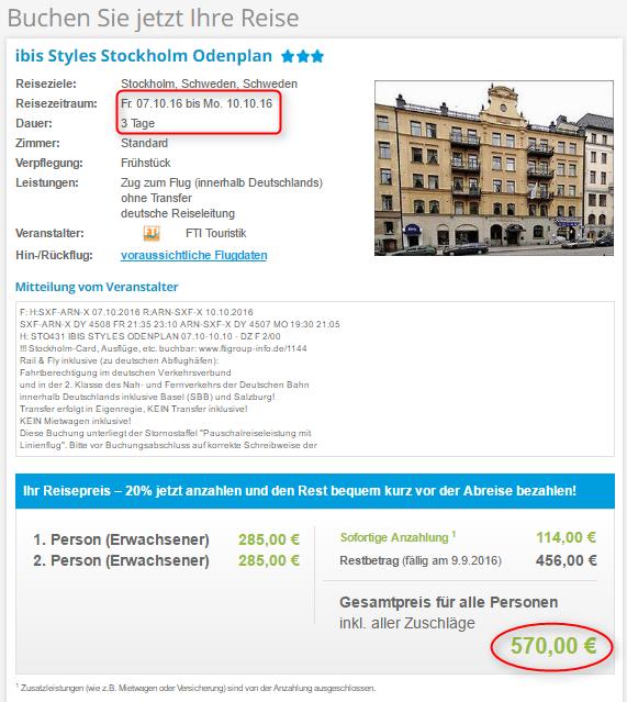Buchungsuebersicht Stockholm 5vF
