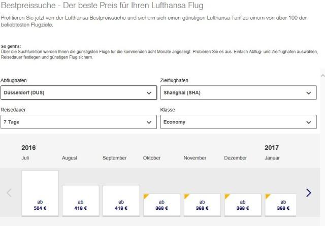 Flug nach Shanghai Lufthansa
