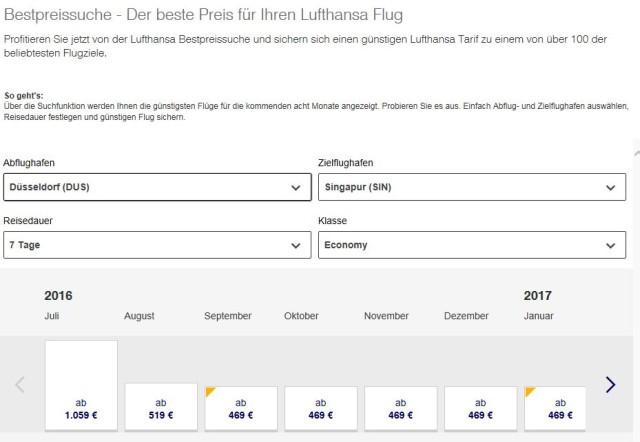 Flug nach Singapur Lufthansa