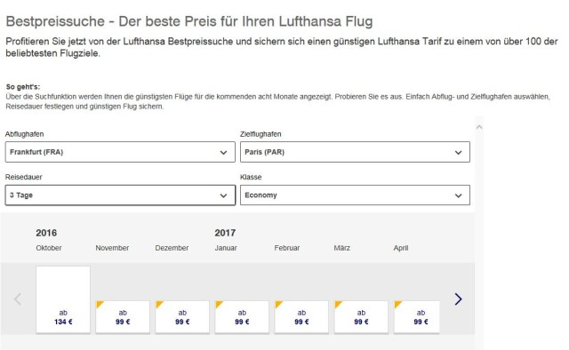 Lufthansa Flug Paris