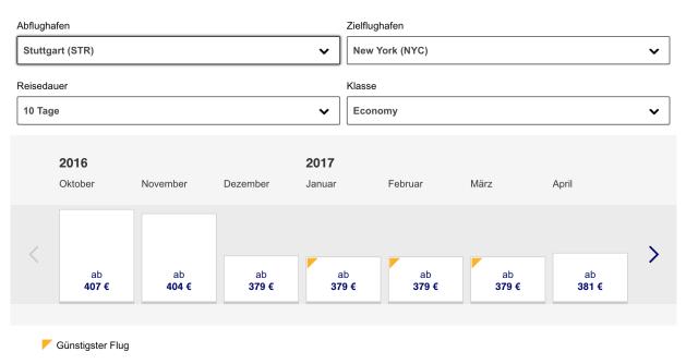Lufthansa Flug nach New York