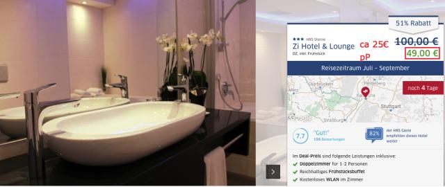 Hoteldeal karlsruhe modernes 3 hotel inkl fr hst ck f r for Design hotel karlsruhe