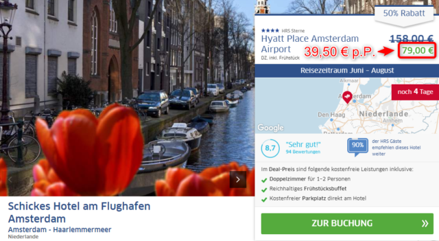 hrsdeals hyatt place amsterdam angebot