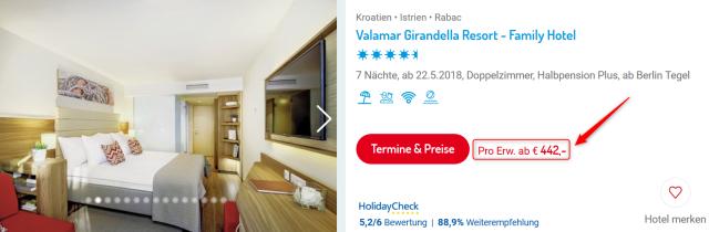 Valamar Girandella Resort 1 Woche Kroatien ITS