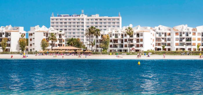 Globales Condes de Alcudia Blick von Meer auf Hotel Holidaycheck