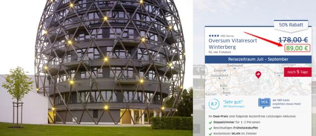 Oversum Vitalresort Winterberg Angebot von HRS Deals