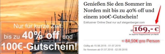 Steigenberger Hotel Hamburg inkl 100€ Gutschein
