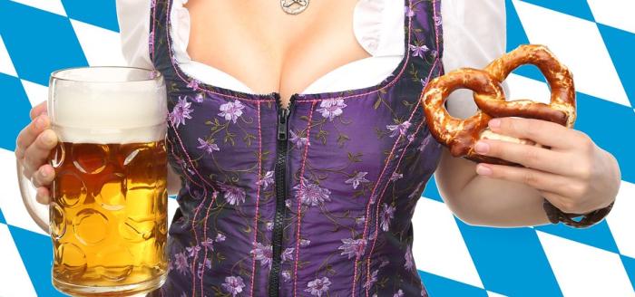 Oktoberfest-dirdnl-frau-bier-brezel