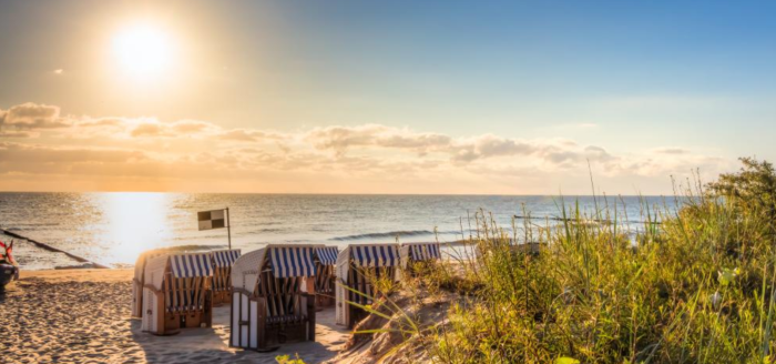 Urlaub auf Usedom Hotel Heimathafen Angebot Travelcircus Blick von Strand auf Meer
