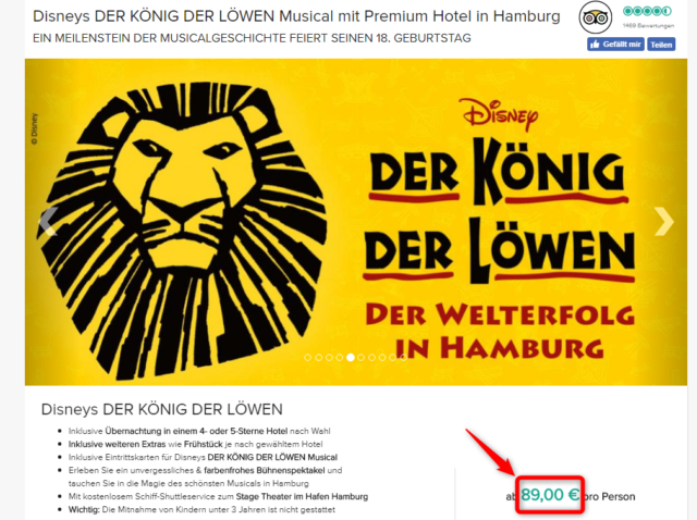 Disneys koenig der loewen hamburg hotel deal travelcircus