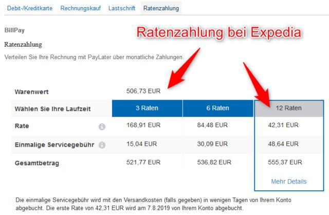 Ratenzahlung Expedia Hotel Flug