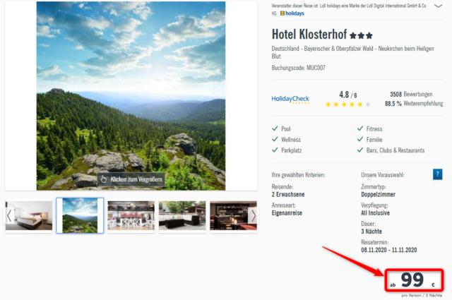 lidlreisen hotelklosterhof bayerischerwald angebot