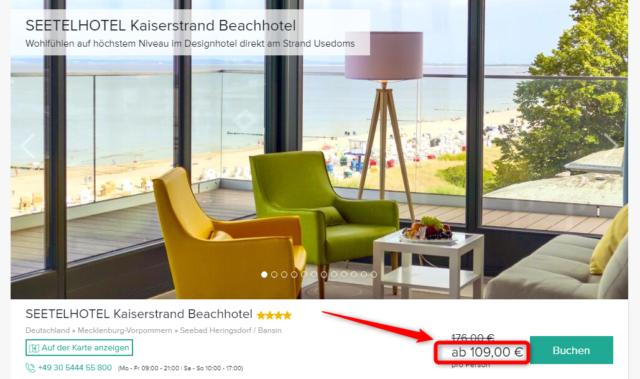 seetelhotel kaiserstrand beachhotel angebot travelcircus 2019