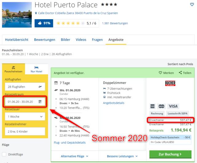 hotel puerto palace teneriffa angebot urlaub 2020 sommer