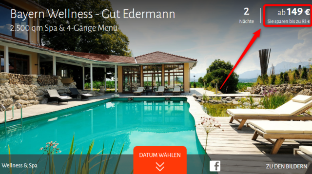 gut edermann wellness deal angebot travador