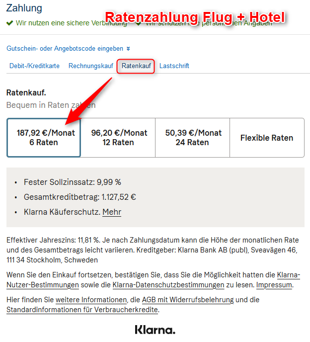 Ratenzahlung Reise Expedia