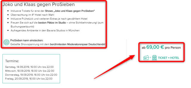 tickets fuer joko und klaas gegen prosieben angebot