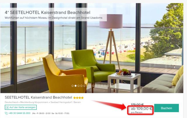 seetelhotel kaiserstrand beachhotel angebot travelcircus