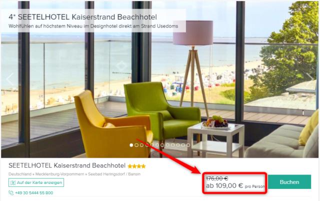 seetelhotel kaiserstrand beachhotel travelcircus angebot