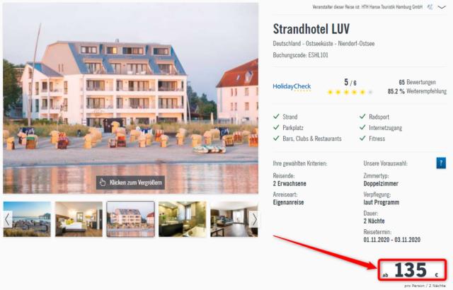 strandhotel luv angebot lidl reisen