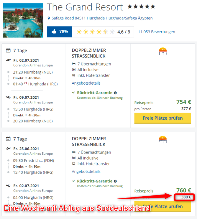 Grand Resort Hurghada mit Abflug aus Nuernberg