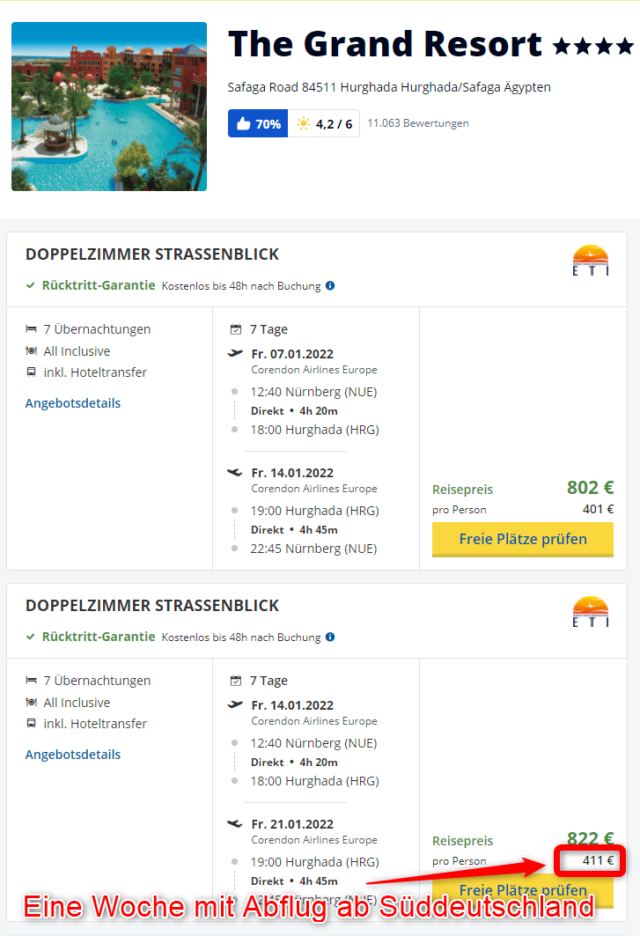 Grand Resort Hurghada mit Abflug aus Nuernberg 2022